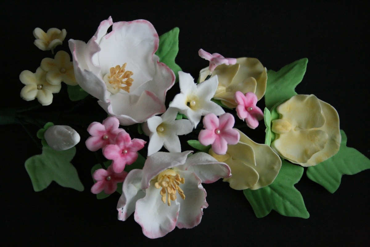 Gum paste flowers - cherry blossoms, ivy, wild roses.